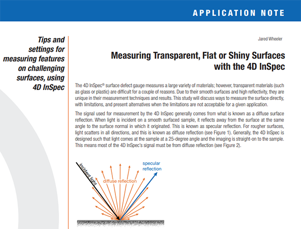 Application Note: Measuring Transparent, Flat or Shiny Surfaces
