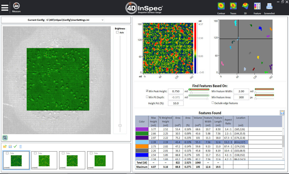 4D InSpec Feature Analysis makes it simple to locate and measure surface defects and features
